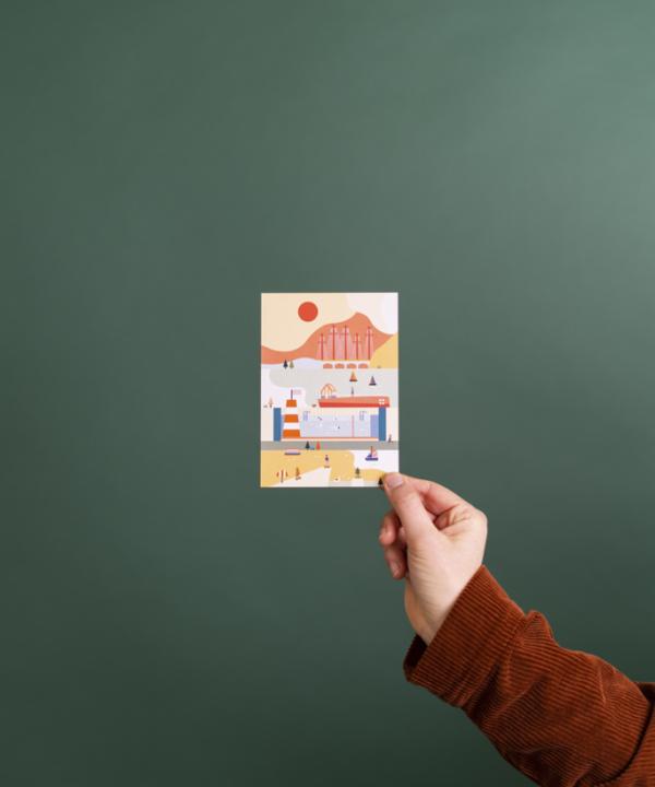 Ankerwechsel-Verlag-Shop: Postkarte Kopenhagen – Illustriert von Saskia-Rasink vor grünem Hintergrund mit Hand