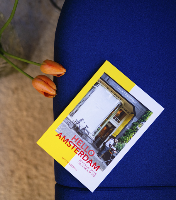 """""""Hello Amsterdam"""" – Ankerwechsel Verlag Buch im Studio von Ain't No Trash auf blauem Sofa mit orangen Tulpen"""