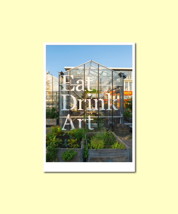 """Postkarte: """"Eat, Drink, Art"""" Mediamatic Eten Amsterdam Vorderseite auf gelbem Hintergrund"""
